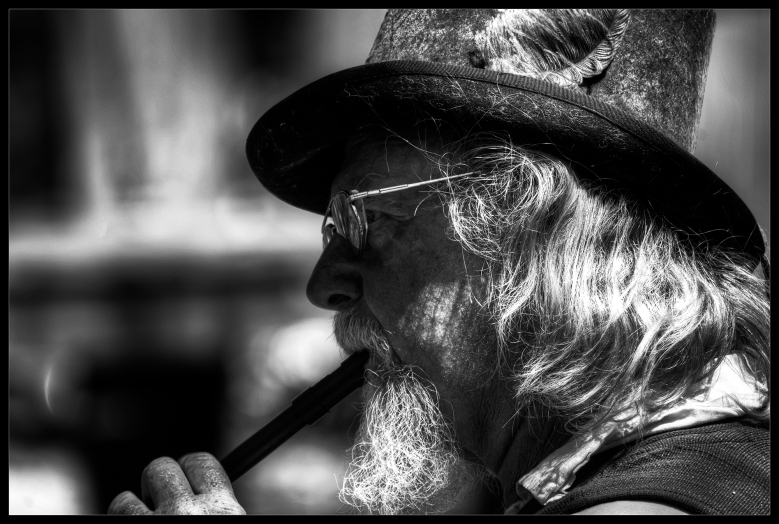 """Exhale"", black and white street photography by Robert Santafede"
