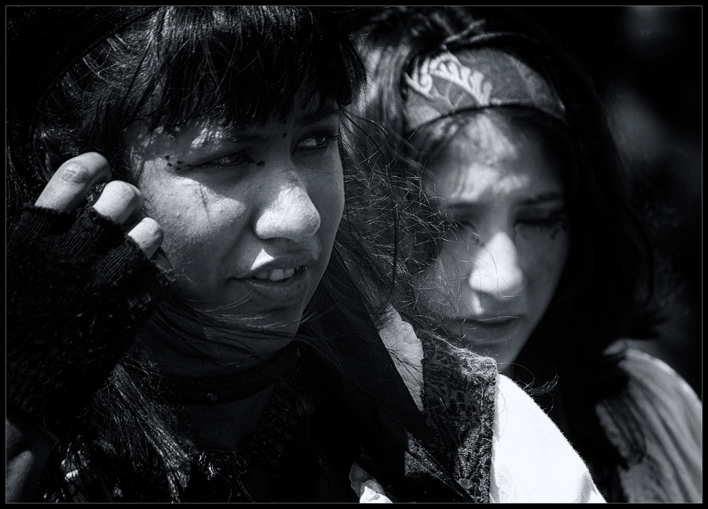 """Sisters"", a black and white street photograph by Robert Santafede"